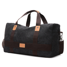 Canvas Men Travel Bags Large Capacity Leather Handbag T735 Big Duffle Luggage Bag