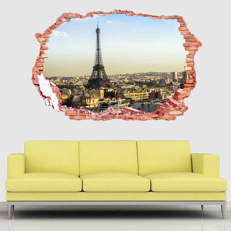 Fashion romantic paris eiffel tower sticker wall stickers for Sticker mural 3d