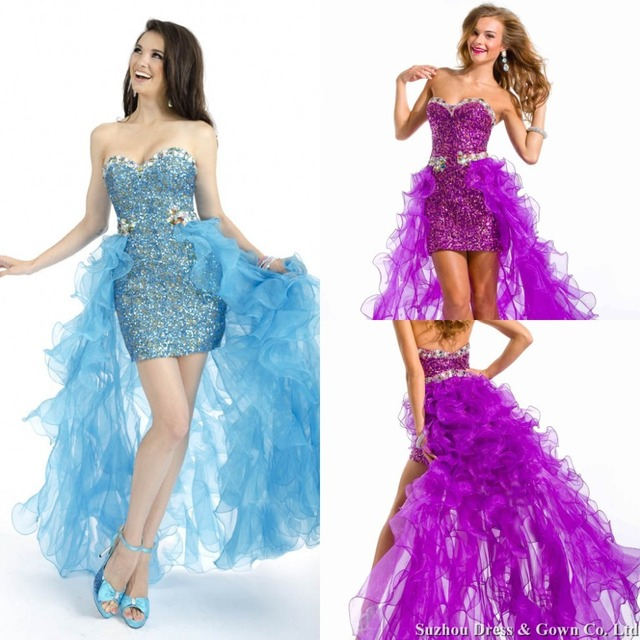 f3c3282166 Sexy Sweetheart Sequin Prom Dresses with Detachable Skirt Bead and Ruffle  Organza Prom Dress Short Front Long Back Formal Dress