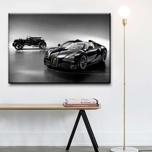 1 Piece Vintage Car And Bugatti Veyron Black Poster Modern Wall Decor Unique gift Artwork Picture HD Print Type Canvas Painting