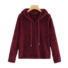 winter xxl new fleece hooded  hoodies style long sleeve pullover solid white female sweatshirt