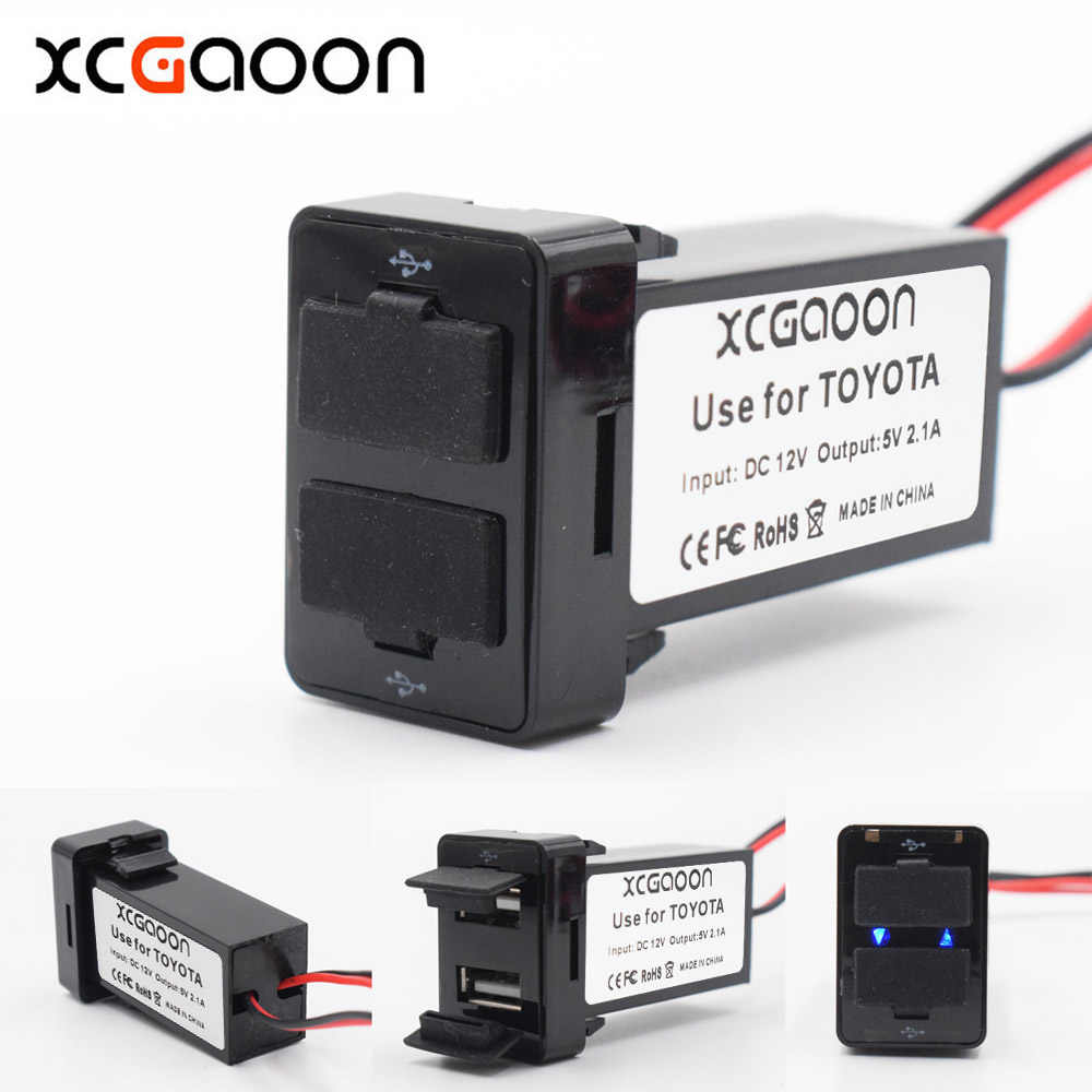 XCGaoon Special 2.1A 2 USB Interface Socket Charger Adapter For TOYOTA, DC-DC Power Inverter Converter, Can Charge iPhone Mobile