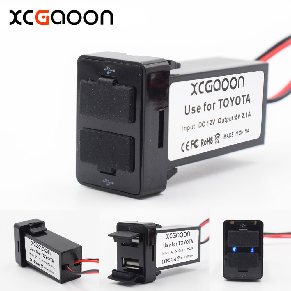 XCGaoon Special 2.1A 2 USB Interface Socket Lader Adapter For TOYOTA, DC-DC Power Inverter Converter, kan oplades iPhone Mobile