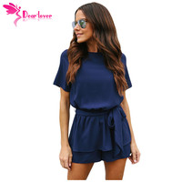 Dear Lover Casual Playsuit Summer Navy Half Sleeves Peplum Waist Romper Women Jumpsuits Boho Short Overalls