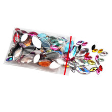 Mixed Sizes Mixed Color 100pcs Acrylic Horse eye Shape Rhinestone Decorate Nail art Flat Back Marquise Facet Decorative