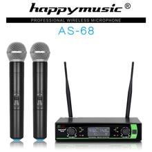 Новый высокое качество UHF профессиональный как-68 двойной Беспроводной микрофон Системы спектакли два Беспроводной микрофон