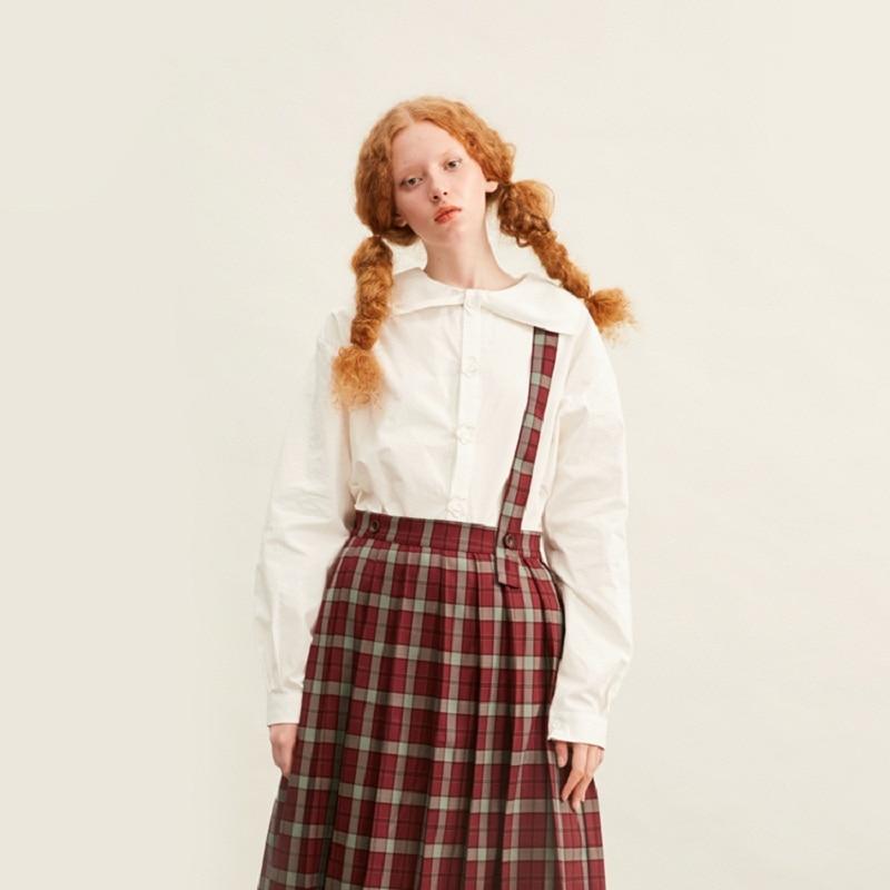 2019 Spring Original Design Fashion Women White Blouse TopLong Sleeve Sailor Collar Preppy Style Flowers Botton Pleated Shirt