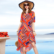 100% Silk V-Neck Short Sleeve Loose Plus Size Beach Party Dress 2019 New Women Summer Geometric Print Irregular