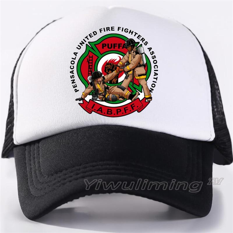 New Summer Trucker Caps Firefighters Cool Summer Black Adult Cool Baseball Mesh Net Trucker Caps Hat For Men Adjustable