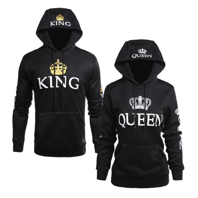 Printed Hooded Long Sleeve Lovers Sweater Casual Fashion King Queen Sweatshirt Letter New Style Sweatshirt For Women