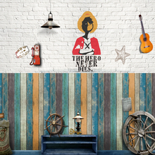 Home Decor 3D PVC Retro wooden stripes Wall Stickers Paper  Self-adhesive Sticker Room