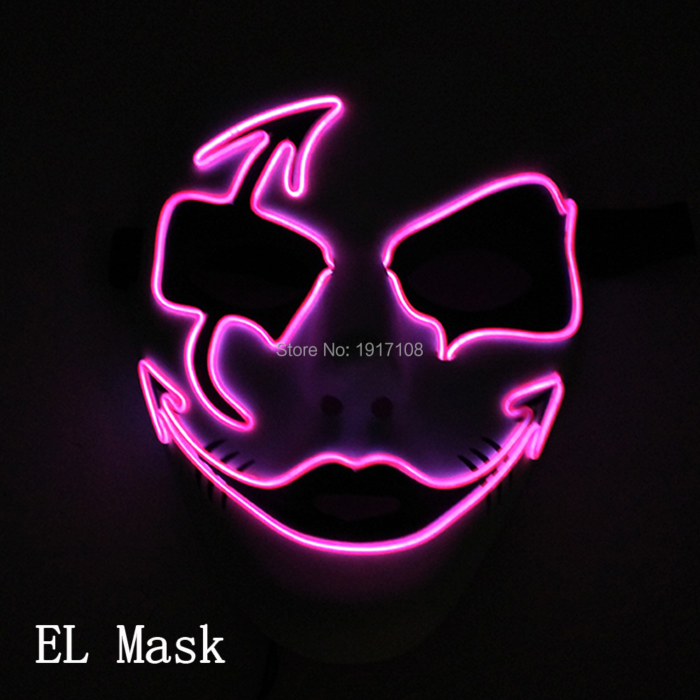 High-grade 10 Color Select Face mask Halloween mask Mens Gift DC-3V Fluorescent mask at the bar For Easter Day Decoration