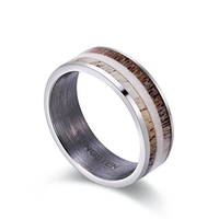 New Arrival Two Tones Natural Antler Inlay Tungsten Carbide Wedding Rings for Man Woman Brushed Finished Inside Comfort Fit
