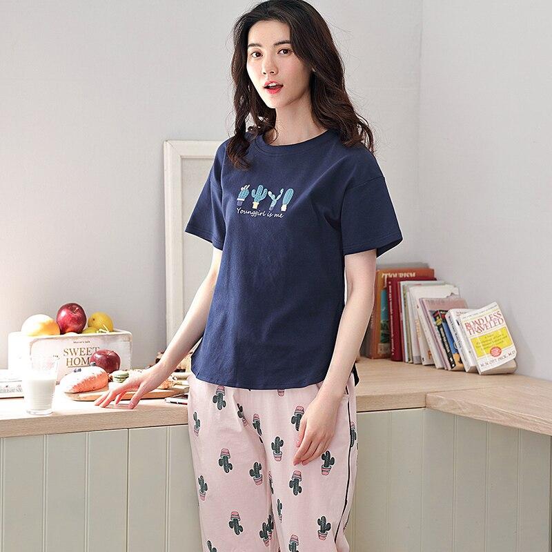 Image 4 - 少女パジャマセットレジャー服春薄型半袖女性パジャマサボテン印刷パジャマ素敵なホーム服    グループ上の 下着