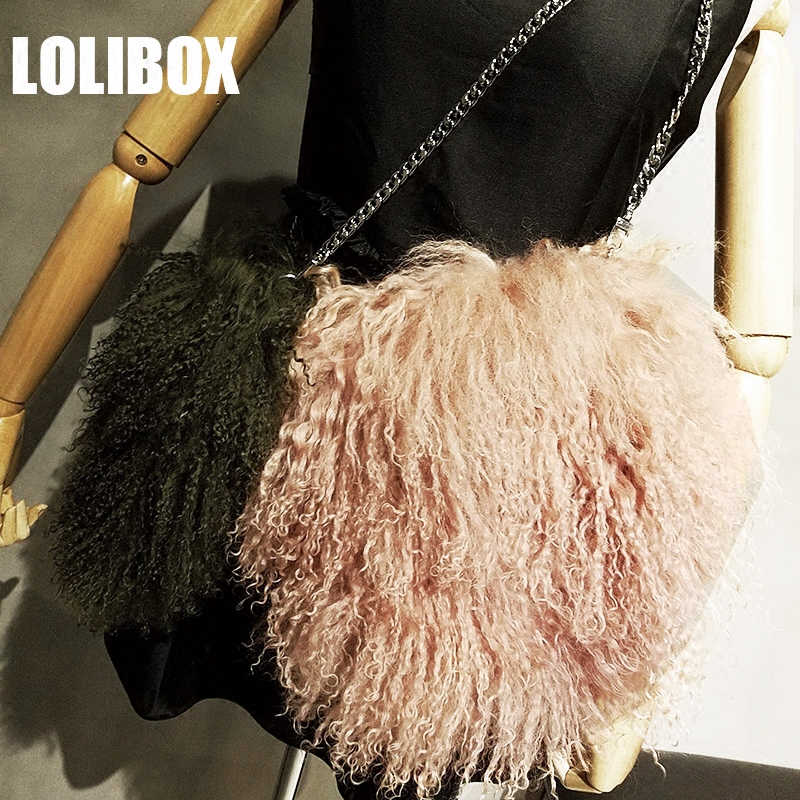 Lolibox Women Bags Messenger Wool Whole Fur Real Curly Crossbody For Plush