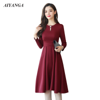 2018 Hot Sale Black Red Women Elegant A line Dress Long Sleeve women Autumn Dress Color color no pocket High Waist Lace Up