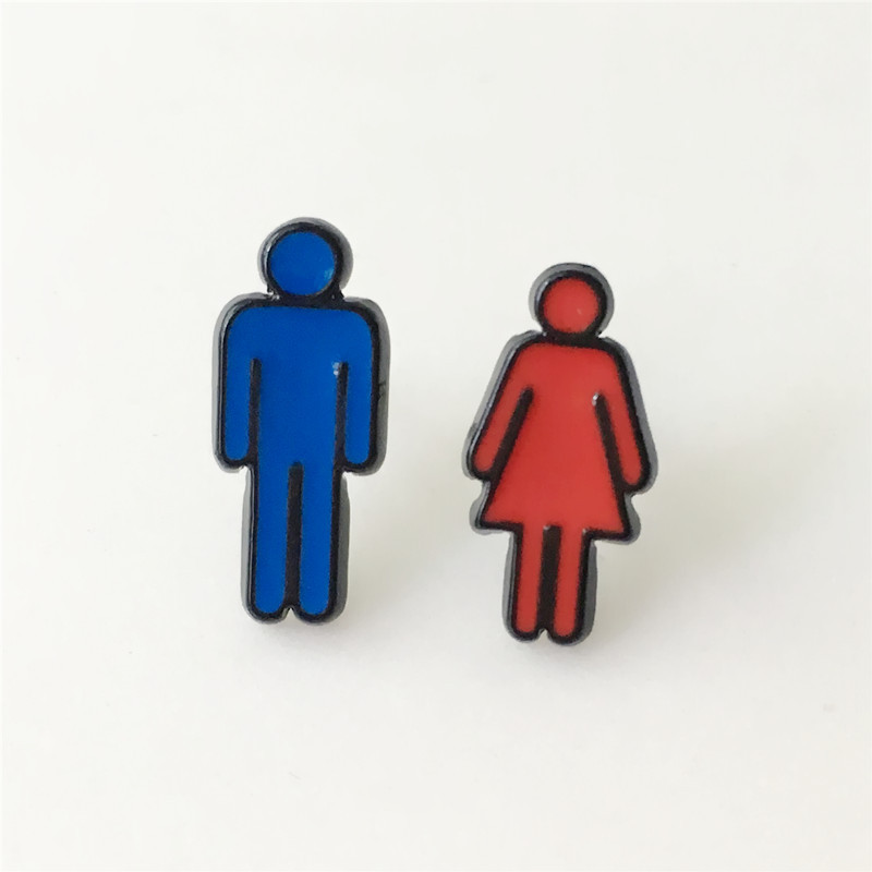 W2954 1pair Classic personality male and female toilet signs enamel ear stud piercing earrings women jewelry