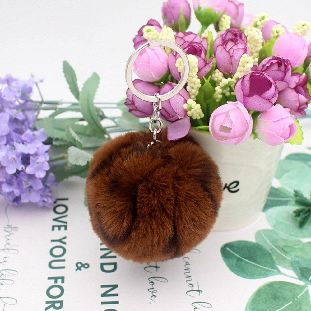 30 Colors Fluffy Fur Pom Pom Keychains Soft Faux Rex Rabbit Fur Ball Car Keyring
