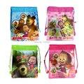 Não tecido dos desenhos animados Masha e suportar cordão mochilas Plush bag para crianças, 1 PCS