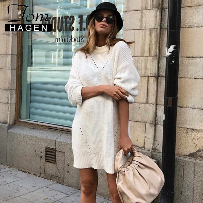 Tom Hagen Long Turtleneck Sweater White Loose Sweater Dress Knitwear Womens Dress New Autumn Winter Warm Sweater Dress Women
