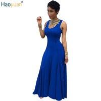 HAOYUAN Women Fashion Sexy Party Long Dress Vestido Casual Round Neck Big Size Maxi Dress Summer