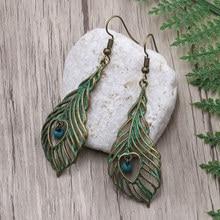 Women Verdigris Leaves Drop Earrings Fashion Jewelry Natural Stone Beads Ladies Dangle