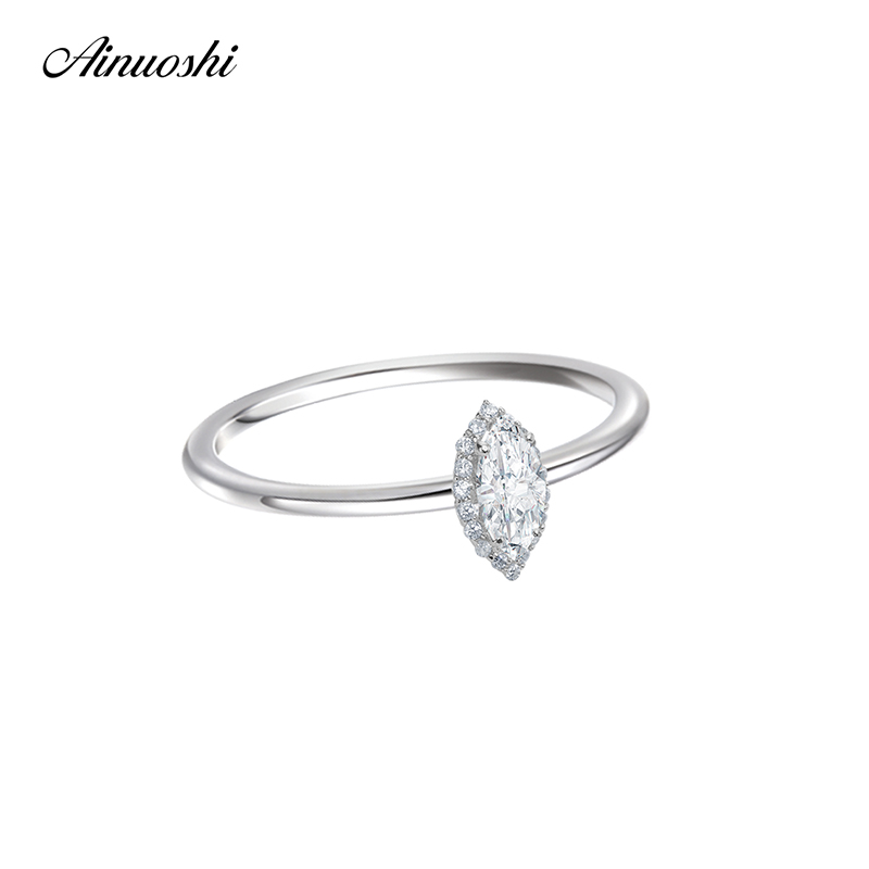 AINOUSHI Solid 925 Sterling Silver Marquise Cut Halo Ring Engagement Party Jewelry Fashion 0.5 Carat Wedding Accessaries Gifts