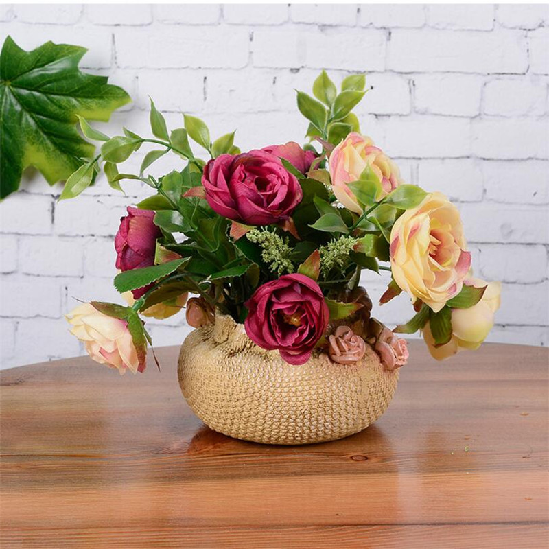 Lifekike Resin Vase Office Ornaments Figurines Artware Table Vase With Flower Bud Home Decor 1 Piece Free Shipping