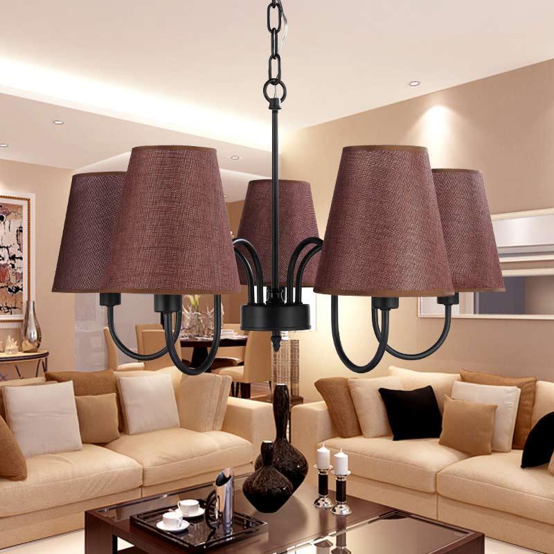 ФОТО Modern Chandelier Stair Foyer Dining Room Living Room Lamp Black Iron Light Fabric Lampshade Home Lighting E14 110-240V