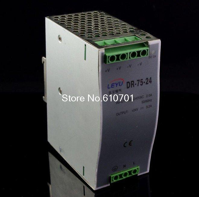 New 75W Din Rail Mounted 24VDC 3.5A Output Power supply DR-75-24 цена