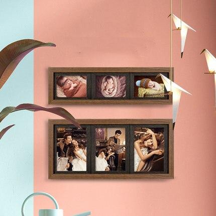 Cadre photo enfant ensemble trois-cadre 5 pouces 7 pouces bébé siamois photo combinaison bois grain cadre photo mur version coréenne