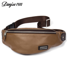 Genuine Cow Leather Men's Waist Packs Natural Male Crossbody Bag Casual Mini Durable Pouch for Keys Wallet Phone Bag