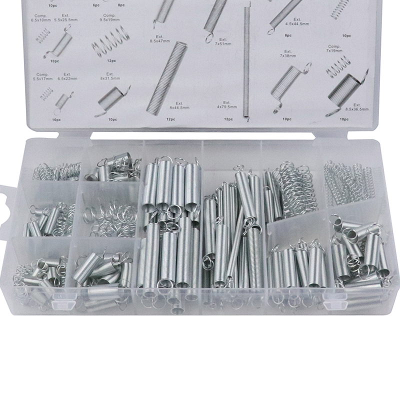 200pcs Steel Spring Tension Spring Compression Spring 20 Kinds Sizes Hardware Assortment Accessories Kit 26 kinds 50pcs commonly used smd 1206 ll34 0 5w 2 4v 30v zener diodes assortment kit assorted sample book tool part accessories