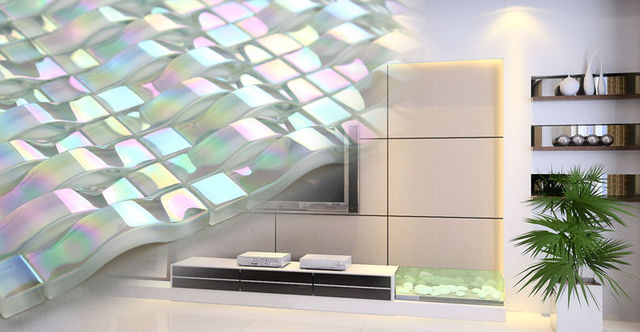 3D Pearl White Iridescent Crystal Glass Mosaic Tile for Kitchen