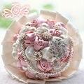 2017 Venta Caliente Púrpura/Blanco/Marfil/Rosa Ramos de Novia Hechos A Mano Flores Artificiales Decorativas Flores Color de Rosa Perlas de Novia ramo