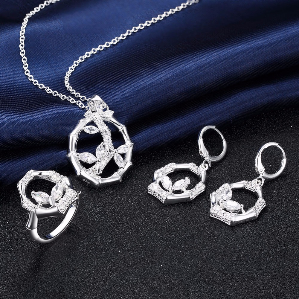 Lemegeton Bamboo Circle Rhinestone Crystal Sliver Plated Necklace, Earrings  And Ring Wedding Cubic Zirconia Jewelry