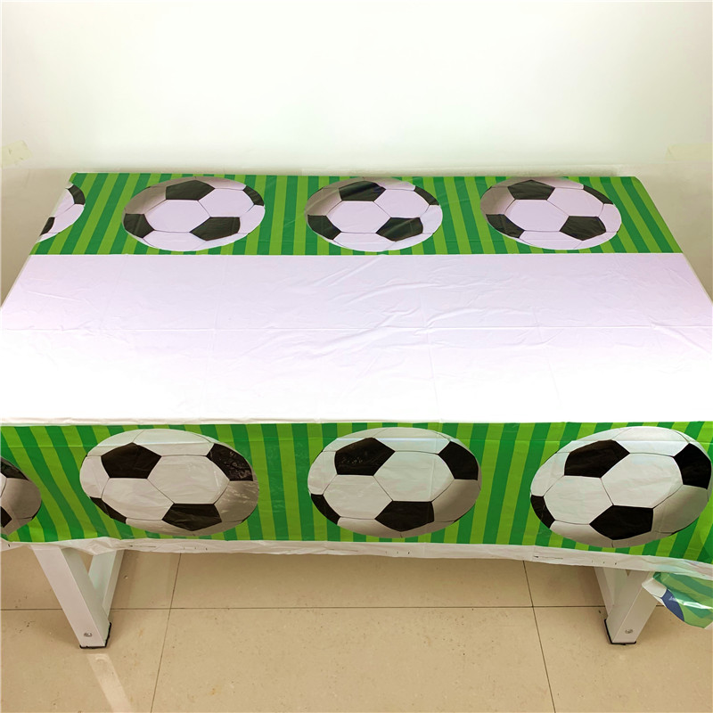 1Pcs White Football Theme Design Boy Girl Birthday Party Paper Tablecover Family Party Tableware Set Wedding Tablecloth Supply