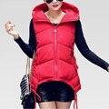 Осень зима женщины пальто 2016 новинка Большой размер дамы безрукавка с капюшоном вниз тонкий теплый женский
