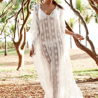 Sexy Lace Cover Up Dress See Through Beach Dress Transparent Maxi Coverup