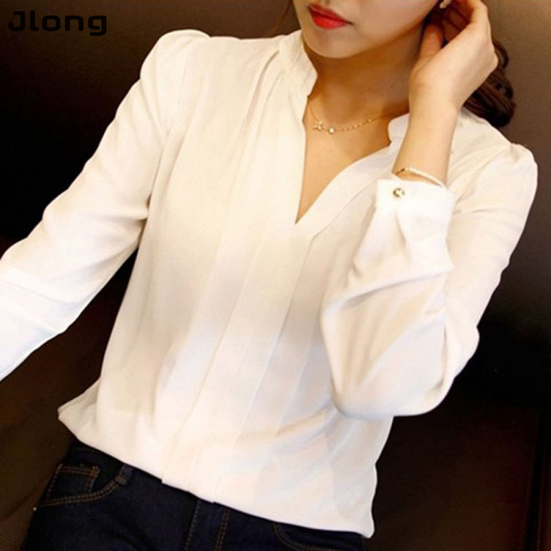 High Quality New Casual White Women Blouse Ladies Solid Elegant V-neck Blouses Long Sleeve OL Office Shirt