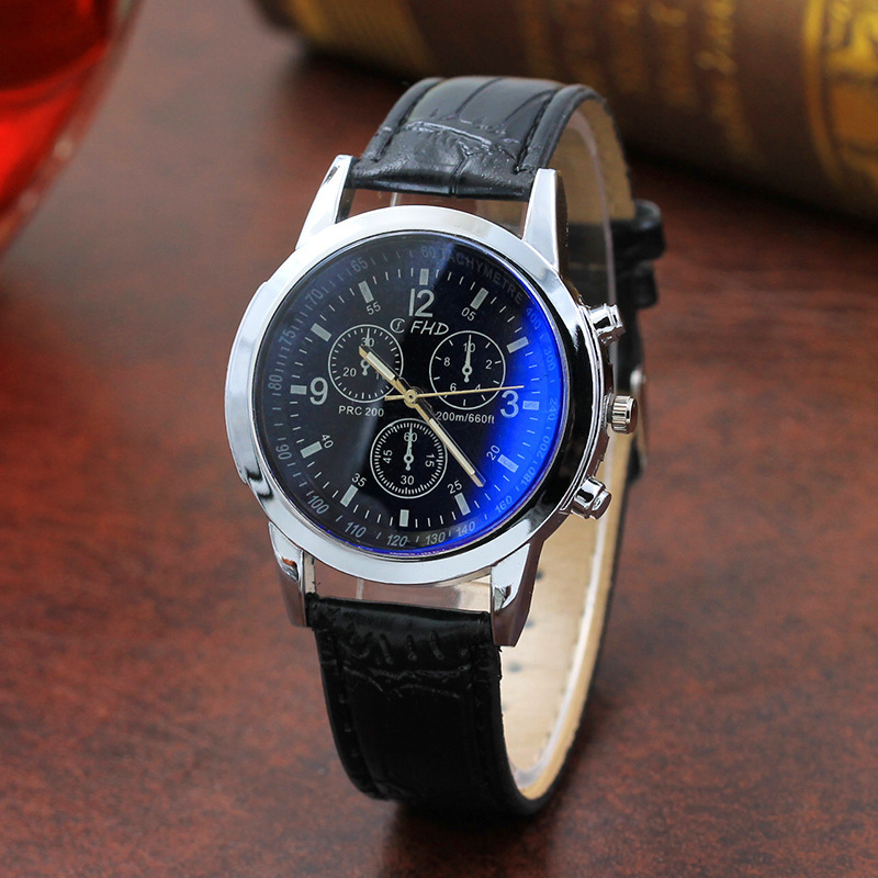Business Trend <font><b>Blu-ray</b></font> Glass Men Watches Leather Band <font><b>Fake</b></font> Eyes Wholesale Dress Hour relogio masculino