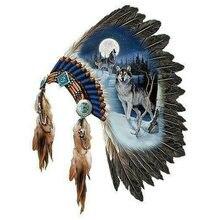 5d алмазная картина волка индийский перья для шляпы полный квадрат дрель 3d круглая Алмазная вышивка декоративная живопись 50x60