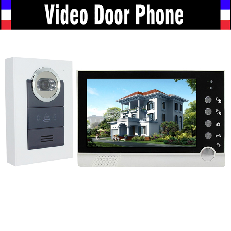 Wholesale 7 inch Monitor 700TVL Camera Wired Video Door Phone Intercom Doorbell System IR Night Vision for apartment Villa
