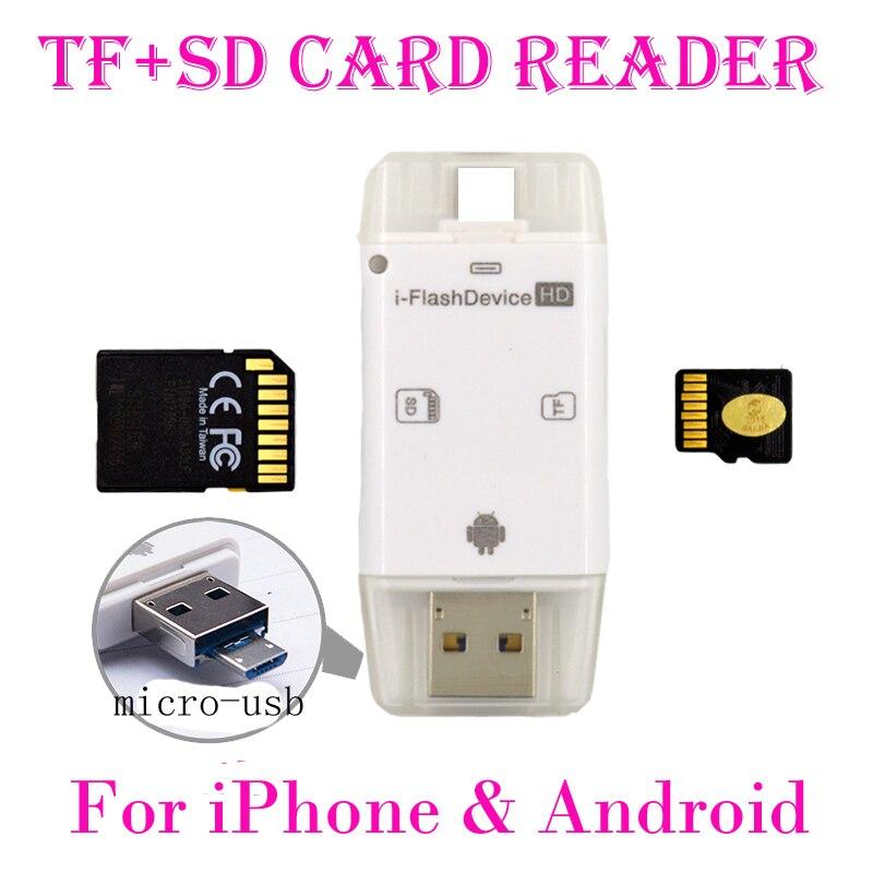3in1 USB OTG Lecteur de Carte Micro SD TF SDHC Carte Écrivain pour iPad Pour iPhone 8X5 5S 6 6 S 7 Plus pour huawei OTG Android Téléphone
