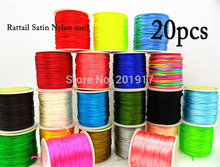 2mm Rattail Satin Nylon Cord+Macrame Rope Bracelet Beading Chinese Knot Cord Accessories-1000m/20rolls 48color Choice