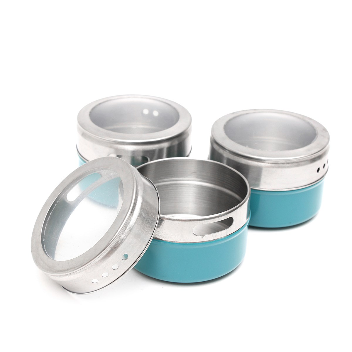 aliexpresscom  buy pcsset blue magnetic spice tin jar  - aliexpresscom  buy pcsset blue magnetic spice tin jar stainless steelspice sauce storage container jars clear lid home kitchen condiment holderfrom