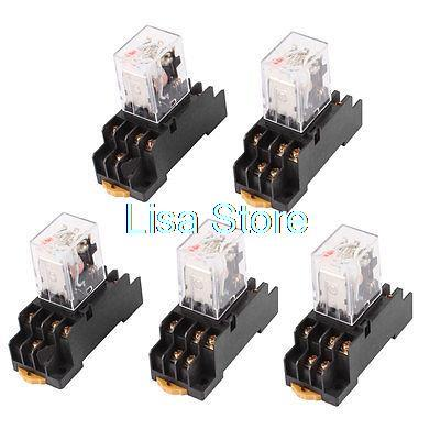 цена на AC 220/240V Coil 3PDT 11 Pin Red LED General Purpose Power Relay 5 Pcs w Socket