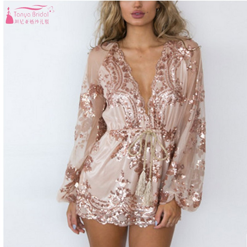 Long Sleeves   Cocktail     Dresses   Short Mini Gold sequins sexy one-piece shorts mesh flower skirt jumpsuit Women   Dress   DQG712