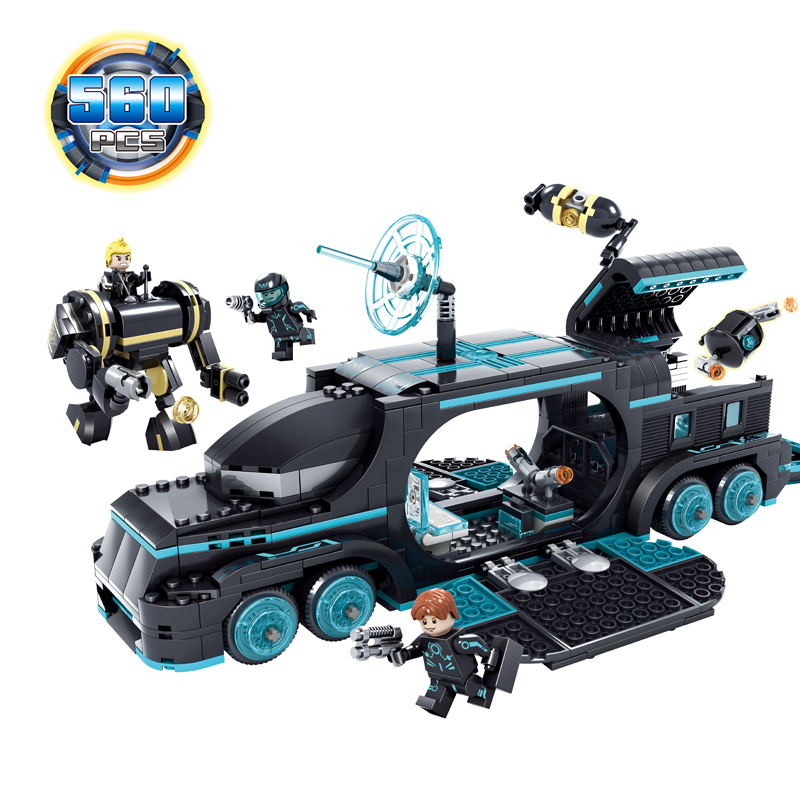 KAZI 560Pcs Future Police City War X-Agents Armor Car Model Mech Robot Building Blocks Toys for children