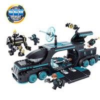 KAZI 560Pcs Future Police City War X Agents Armor Car Model Mech Robot Building Blocks Toys for children